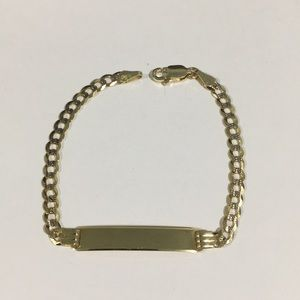 Other - 14k Two Tone Gold Children's Cuban ID Bracelet